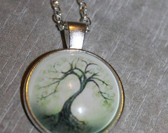 """Necklace glass cabochon with """"Tree"""""""