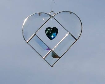 Beveled Glass Heart with Blue Crystal