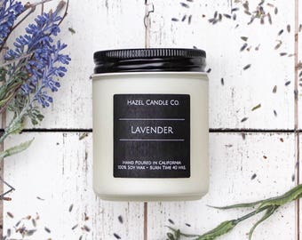 All Natural, Soy Wax, Eco Friendly, Luxury, Lavender Scented Candle // Hand Poured and Handmade in California