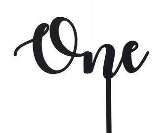 """Ready to Ship, """"One"""" Cake Topper in Black"""