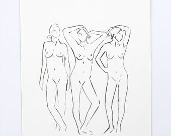 Original Contour Ink Drawing / Figure Painting / Original Watercolor / Naked Lady Art / Nude Drawing