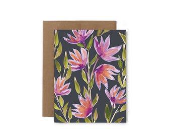 Purple Flowers Greeting Card - A2