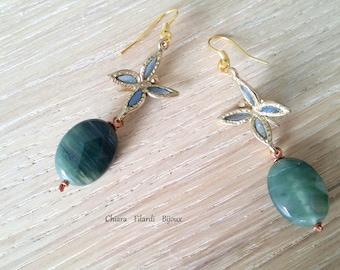 Bronze with aventurine and blue enamel, butterfly earrings