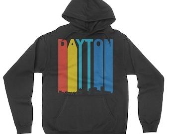 Vintage Retro 1970's Style Dayton Ohio Skyline Hoodie