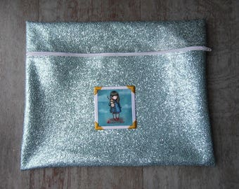 Ipad and Tablet Case Large format imitation leather blue sequined