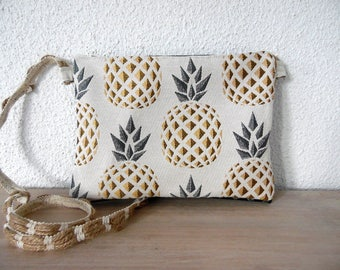 "Clutch bag ""pineapple"" faux leather and cotton"