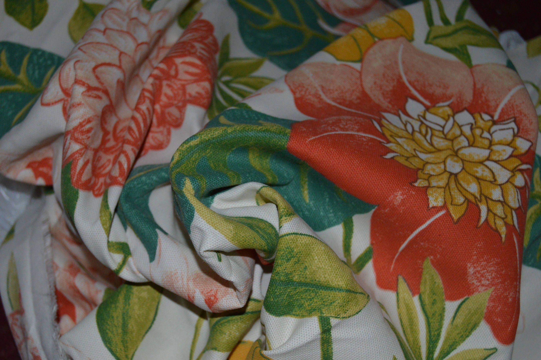 White Orange Green Floral Home Decor Fabric 54 Wide