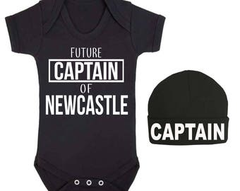 Future Captain of Newcastle Baby Vest and Hat Set Sleep suit Baby Top Baby Shower Gifts Football Club New Baby gift Football Lovers