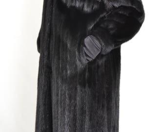 UN969 Dark Female Skins Mink Fur Coat Jacket FULL LENGTH Abrigo de vison Size ca. XL -20 Nerzmantel weibliche Felle Pelz Gr. 42-44