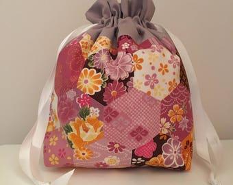 Knitting bag / knitting bags / crochet bag / project bag - purple and orange