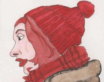 Red Beanie Face. Fine Art, Watercolor Painting, Gift Art, Small Art, Watercolor, Painting