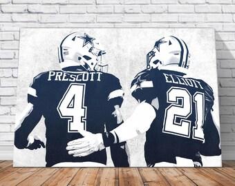 Ezekiel Elliott, Dak Prescott - Dallas Cowboys Print: Wall Art - Canvas Print - Wall Decor - Man Cave Decor - Digital Illustration