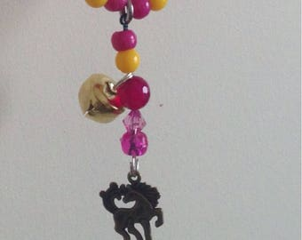 Pony size Rhythm Beads in sumer pinks and yellows with pink feathers. To fit 12'1-13'2