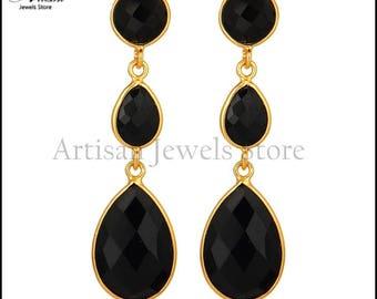 Black onyx drop earrings, 92.5 sterling silver earrings, gemstone jewelry for women's