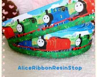 "3 yards 7/8"" Thomas the train ribbon, Thomas ribbon, hair bow ribbon, grosgrain ribbon, cartoon ribbon, train ribbon, gift wrapping ribbon"