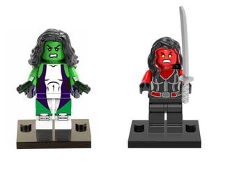 She Hulk Green and Red 2pc  Custom made Minifigure compatible with Lego Marvel Old man Logan Avengers Xmen
