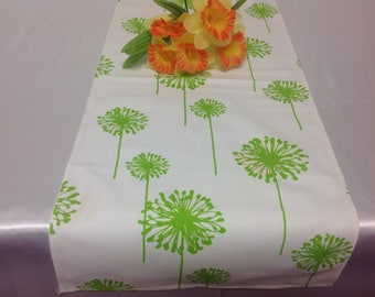 Handmade Tablerunner 11W x 36L in White/Lime Green Dandelion, Home Decor, Ready to Ship