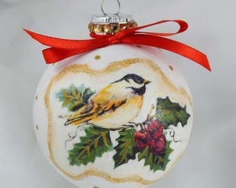 Decoupage Ornament. Chickadee Ornament. Glass Ornament. Painted Ornament. Holiday Ornament. Christmas Ornament.