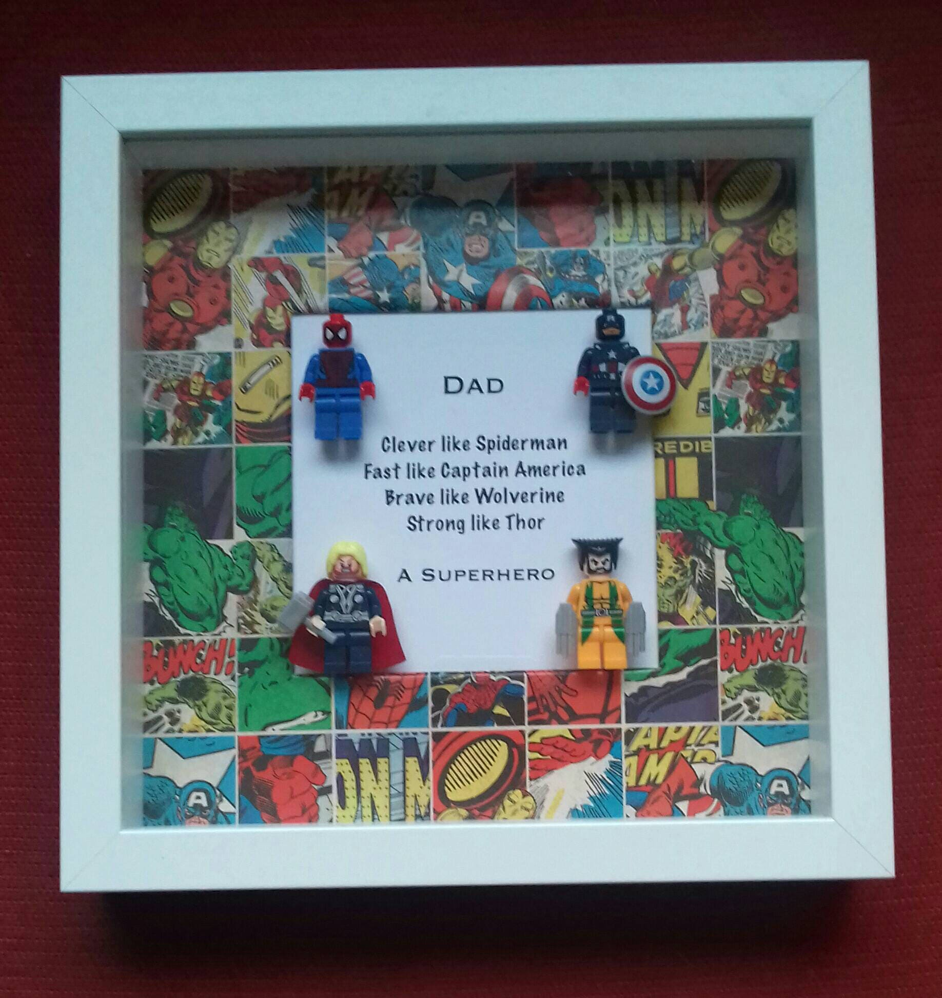 Dads Birthday Present My Dad Superhero Framed Gift For Spiderman Thor Wolverine Captain America Avengers Marvel 4 Minifigures From FramedMiniFigures