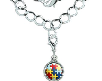 Autism Awareness Diversity Puzzle Pieces Silver Plated Bracelet with Antiqued Charm