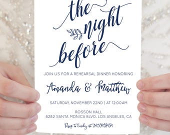 Leaf Wedding Invitation - Printable Rehearsal Dinner Invitation Template - Navy Blue Rehearsal Dinner - Downloadable wedding #WDHSN8116