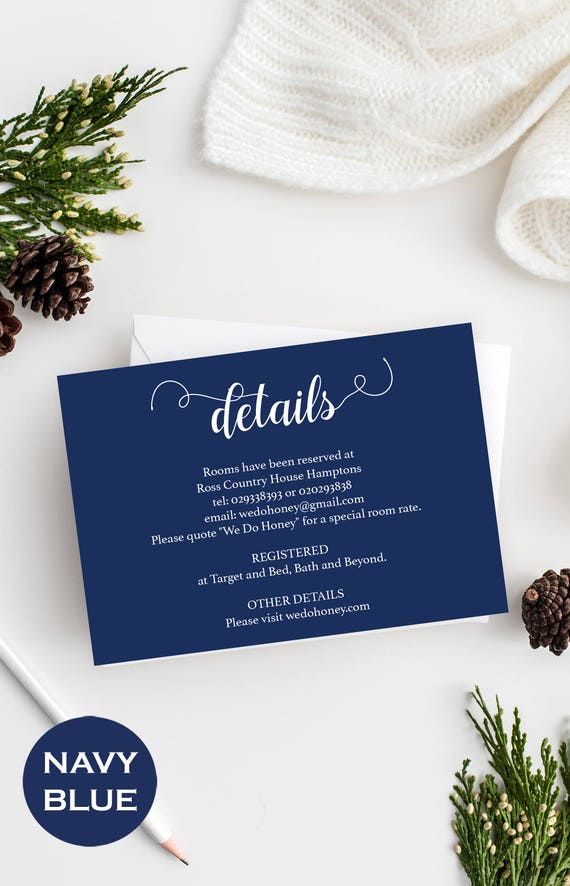 Wedding Details Card Template - Printable Wedding Info - Details Insert Card - Navy Wedding - Downloadable wedding #WDH657DT282