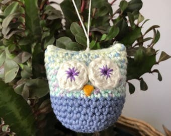Crochet ornament . Christmas ornament . Crochet owl ornament .