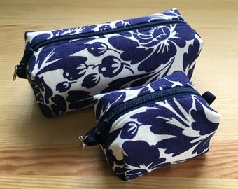 Floral print Blue and White Linen Toiletry/Pencil Cases and Change Purses!