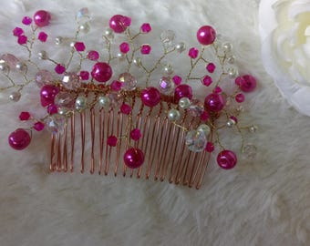 Rose pink and ivory crystal on rosegold haircomb ideal for bridesmaids, evening dress, updo, side bun or chingnon, weddings