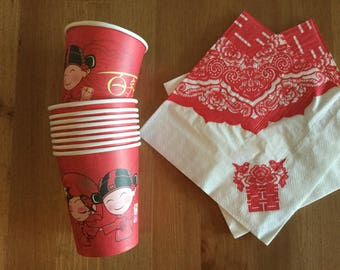Chinese Wedding Tea Ceremony Red Disposable Paper Cups + Napkins, Double Happiness