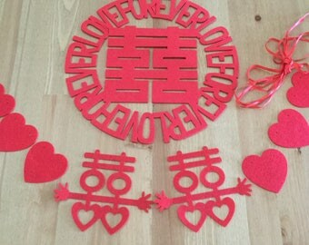 Forever love Chinese wedding decorations, Double Happiness Sticker with Garland, Stiff felt.