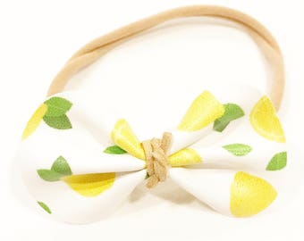 Lemon bow headband, lemon headband