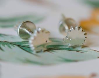 Hedgehogs Sterling silver earrings Minimalist Jewelry Sterling Silver Studs