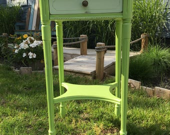 Antique Walnut Two Tone Green End Table with Drawer
