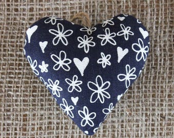 Heart-shaped lavender bag, dark blue, original hearts and flowers design