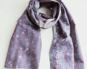 Luxury One-of-a-kind, Kantha Silk Sari Scarf