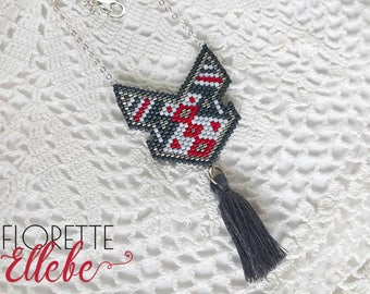 Red and grey necklace Bohemian and tassel (Silver 925)