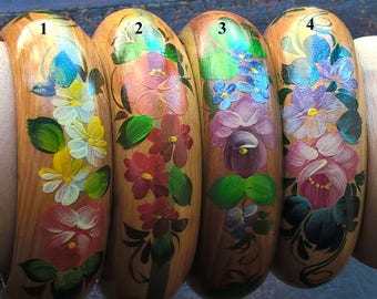4 x Russia NEW! Natural Wood Hand Painted Lacquer Flowers Bright Summer Bracelets
