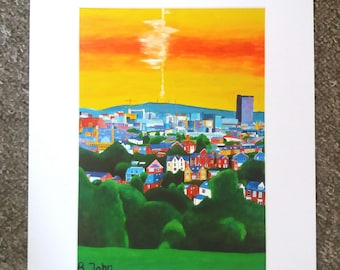 """Limited edition print - View from Meersbrook Park - looking North, Sheffield  - A3,A4 or 7"""" x 5"""" Print of an Original Painting by Bryan John"""