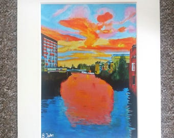 """The Ouse, York at dusk - A4 or 7"""" x 5"""" Print of an Original Painting by Bryan John"""