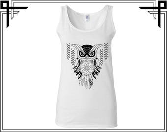 Abstract Owl Tank Owl Tank Top Owl Tank Animal Tank Animal Tank Top Women Tank Ladies Tank Softstyle Tank Gift For Her