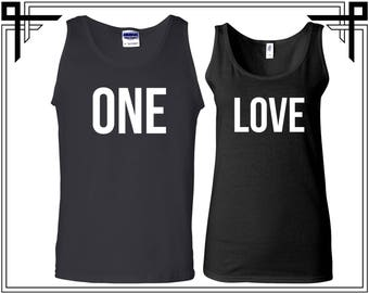One Love Tank Top One Love Couple Tank Top Tanks Couple Tops Love Top Gift For Couples Anniversary and Valentines Gifts