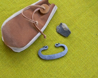 Firesteel, primitive firemaking, flint and steel, bushcraft fire kit with leather pouch. FREE SHIPPING!