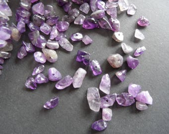 raw Amethyst chips, 10 drilled, natural crystals