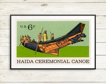 Postage stamp art, Haida ceremonial canoe, Haida art, US Postage, canoes, canoe paddles, haida artwork, vintage USA posters, postage stamps