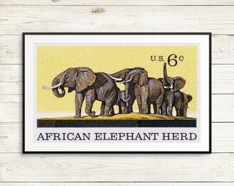 african elephant herd poster, african elephant room decor, kids room decor, elephant kids room decor, kids animal print set, elephant herd