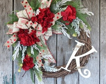 Rustic Christmas Wreath, Holiday Wreath, Red Hydrangea Wreath, Winter Wreath, Grapevine Wreath, Farmhouse Wreath, Front Door Wreath