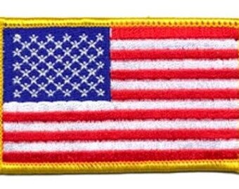 Embroidered Iron-On USA Flag, 3+3/8 x 2+1/8 inch