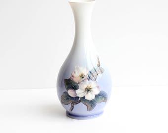 Royal Copenhagen Porcelain Vase, Dogwood Blossoms,Blue and White Floral Ceramic Vase,Hand Painted Vase,Dogwood Blossoms,Denmark