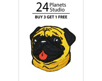 Pug Dog Iron on Patch by 24PlanetsStudio Cute Applique Cute Patch